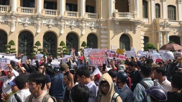 Một cuộc biểu tình chống Luật đặc khu và An ninh mạng tại TP.HCM ngày 10/6/2018. Ảnh: Internet